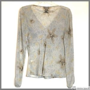 THE LIMITED 100% Silk Blouse Beige Gray